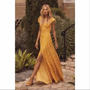 Lulu's Yellow Floral Print Backless Maxi Dress
